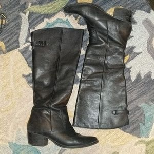 MATISSE BLACK LEATHER KNEE HIGH BOOTS